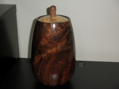 Tall walnut vase with pecan lid - Dec 2011