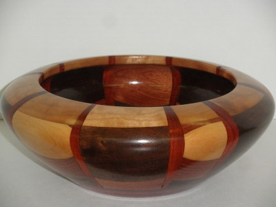 Segmented Bowl finished by Bob Forsythe, autographed by members, and to be given to deceased member Chuck Webber's family Feb 2012