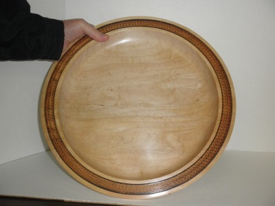 Maple platter with ornamentation October 2012