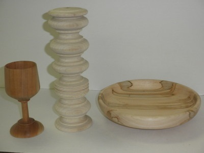 Purple Heart Goblet, Beads 'n Coves, and Poplar Platter - Aug 2012