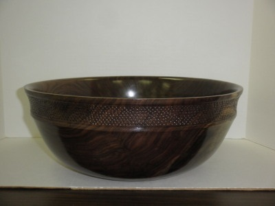 "15"" Walnut Bowl with Etching Indent - Dec 2012"