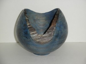 December 205 Jim Mason Natural Edge Hollow Form with Blue Dye