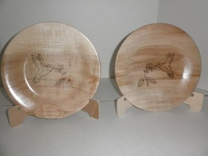 May 2016 Mike Canfield Ambrosia maple plates with hummingbird